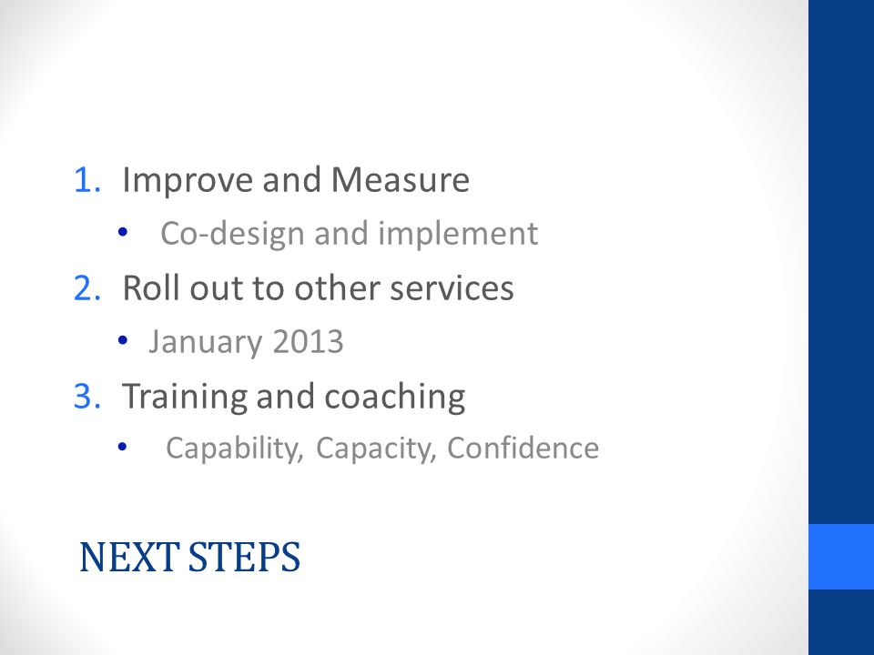 NEXT STEPS 1.Improve and Measure Co-design and implement 2.Roll out to other services January 2013 3.Training and coaching Capability, Capacity, Confi