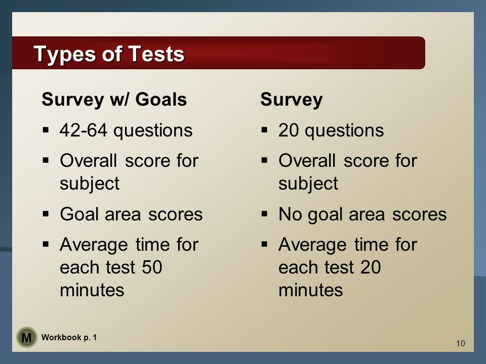 10 Types of Tests Survey w/ Goals  42-64 questions  Overall score for subject  Goal area scores  Average time for each test 50 minutes Survey  20