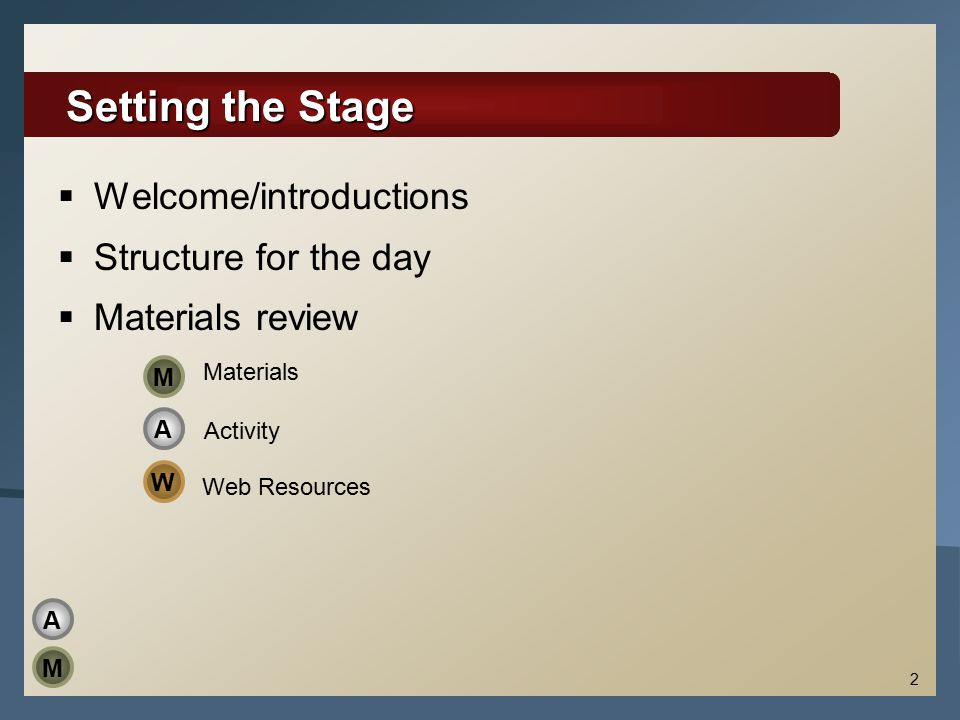 Setting the Stage  Welcome/introductions  Structure for the day  Materials review 2 A M Materials Activity Web Resources W M A
