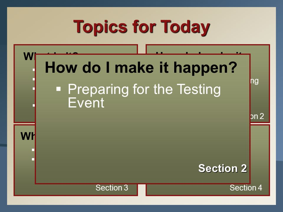 How do I make it happen.  Preparing For The Testing Event Section 2 What is it.