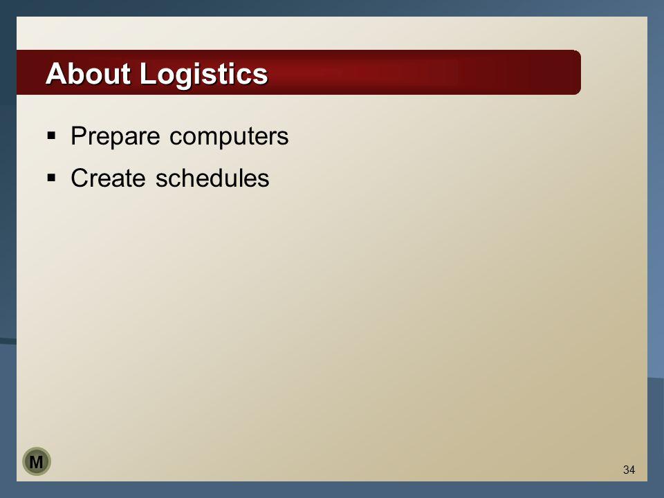 34 About Logistics  Prepare computers  Create schedules M