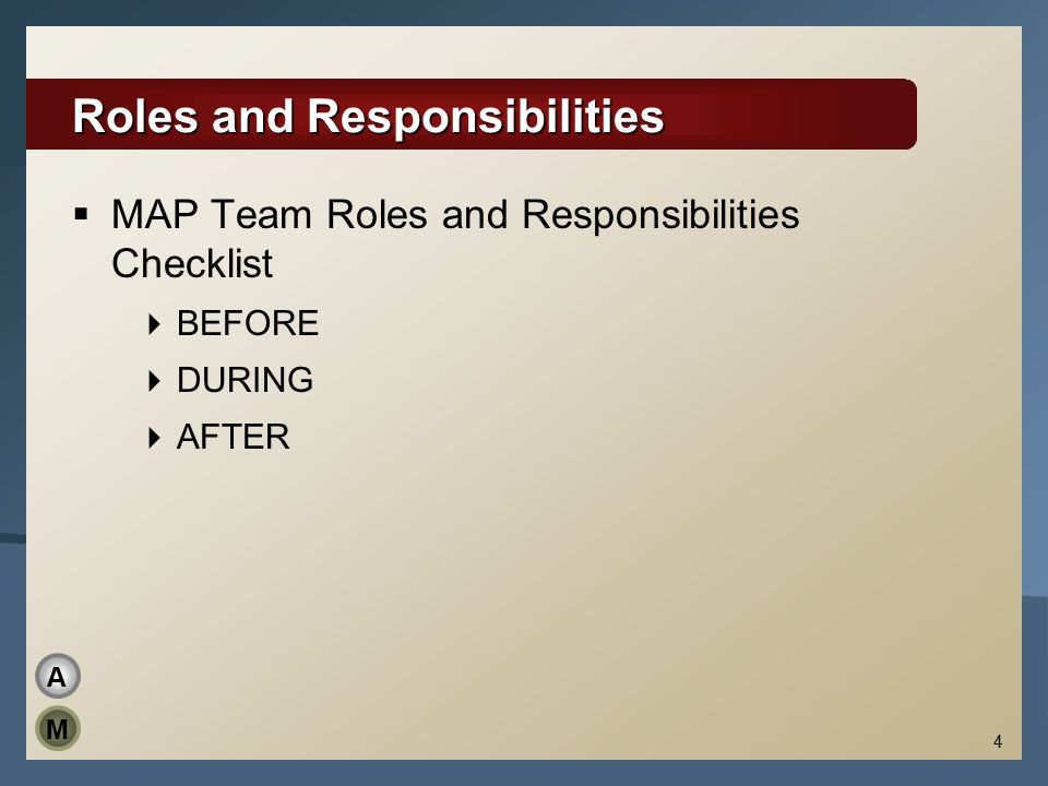 4 Roles and Responsibilities  MAP Team Roles and Responsibilities Checklist  BEFORE  DURING  AFTER M A