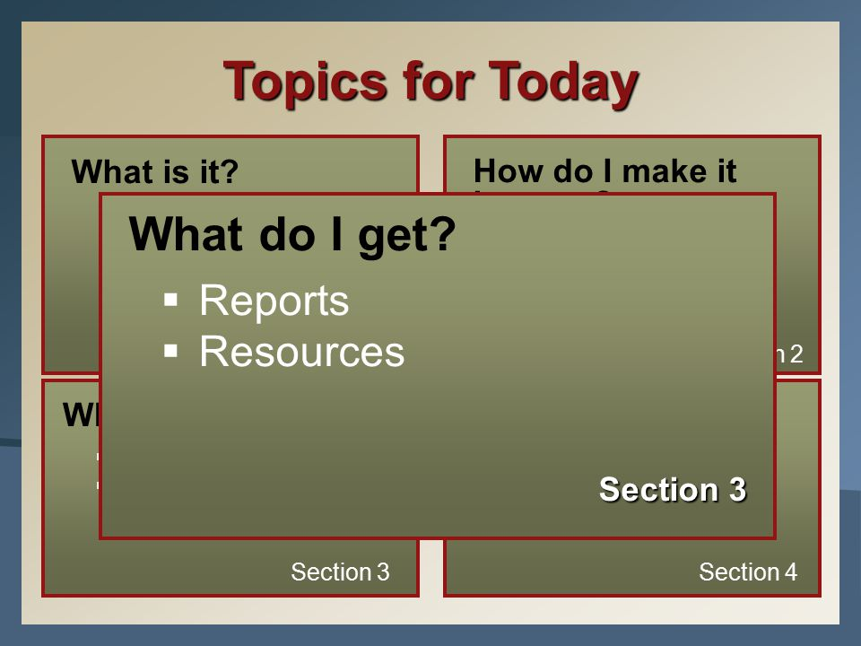 Topics for Today What is it.  The MAP Assessment  The RIT Scale  Instructional Level vs.