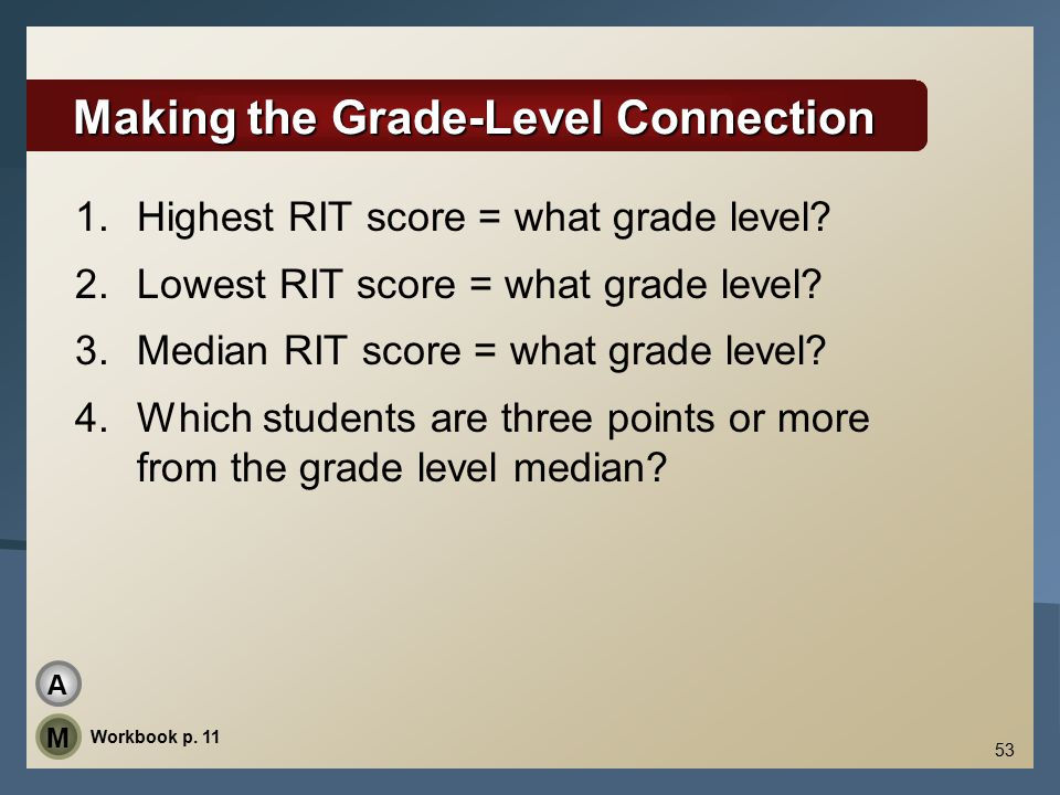 53 Making the Grade-Level Connection 1.Highest RIT score = what grade level.