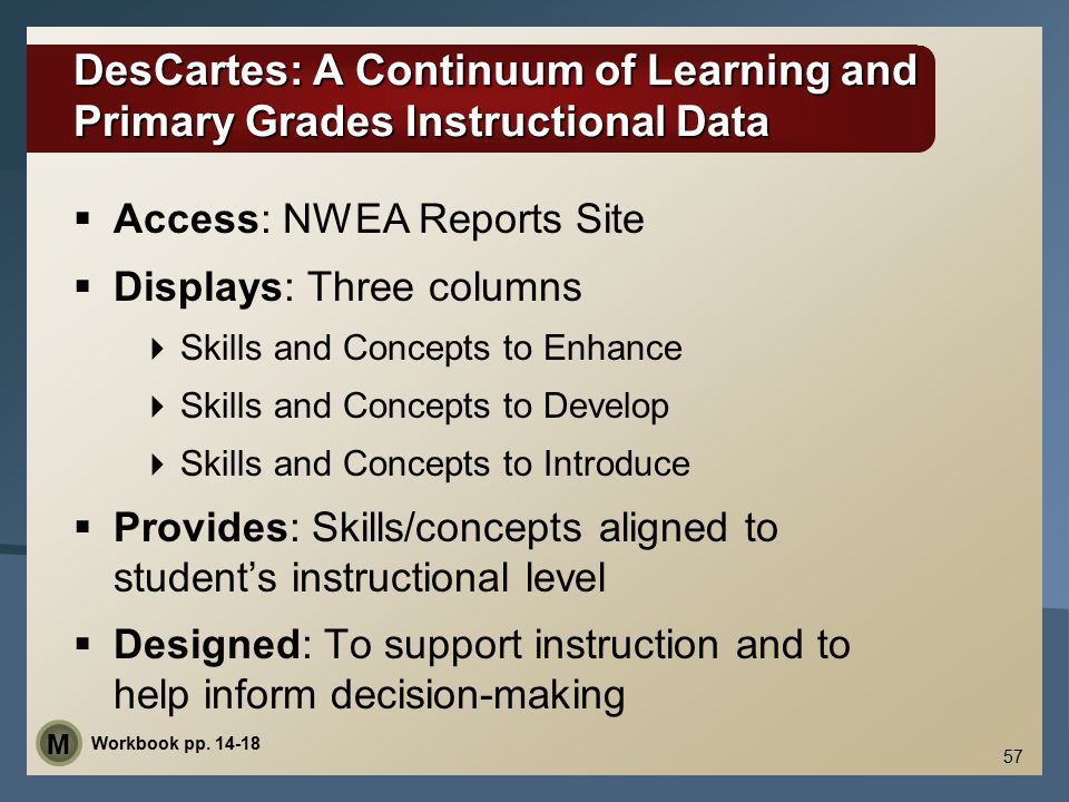 DesCartes: A Continuum of Learning and Primary Grades Instructional Data DesCartes: A Continuum of Learning and Primary Grades Instructional Data  Ac