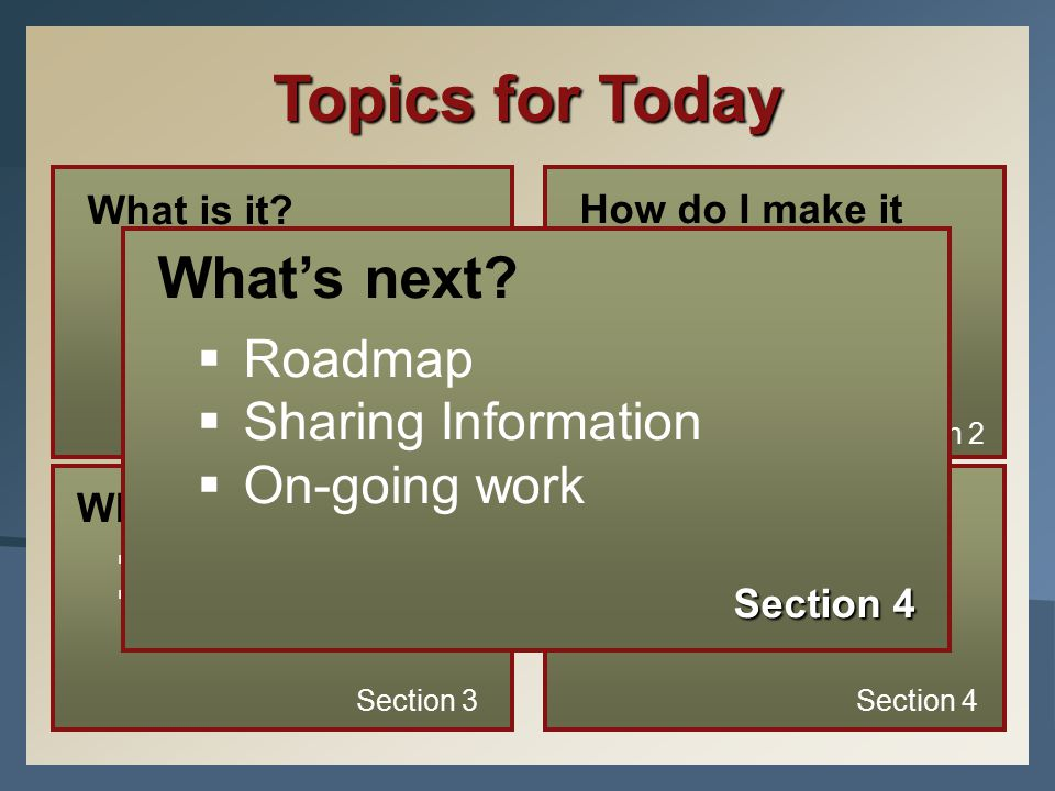 Topics for Today What is it?  The MAP Assessment  The RIT Scale  Instructional Level vs. Mastery  Research Section 1 How do I make it happen?  Pr