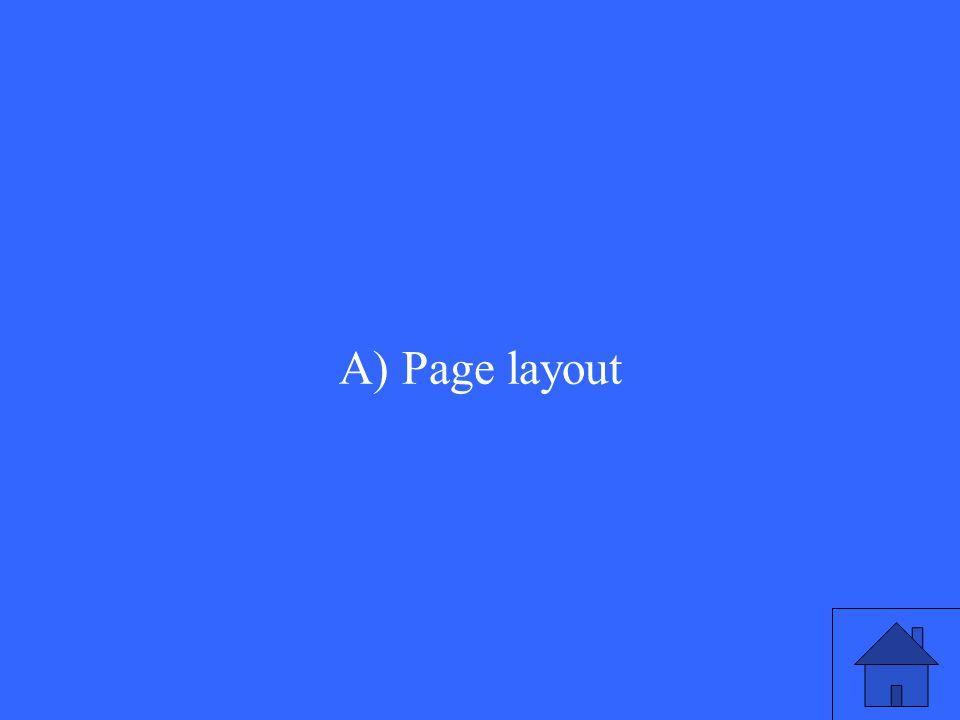 A) Page layout