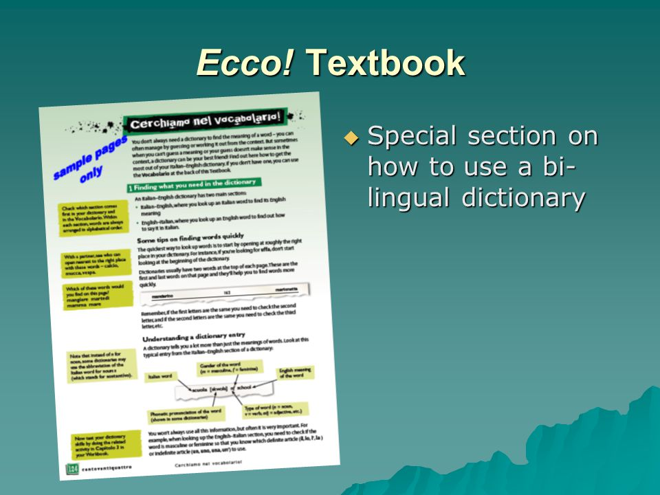 Ecco! Textbook  Special section on how to use a bi- lingual dictionary