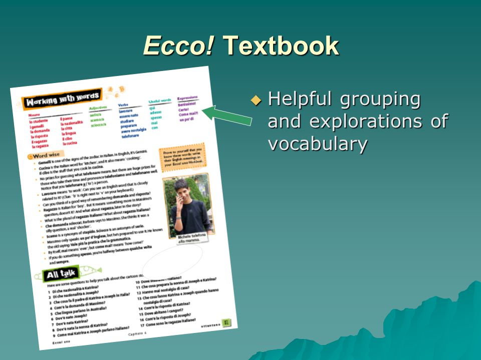 Ecco! Textbook  Helpful grouping and explorations of vocabulary