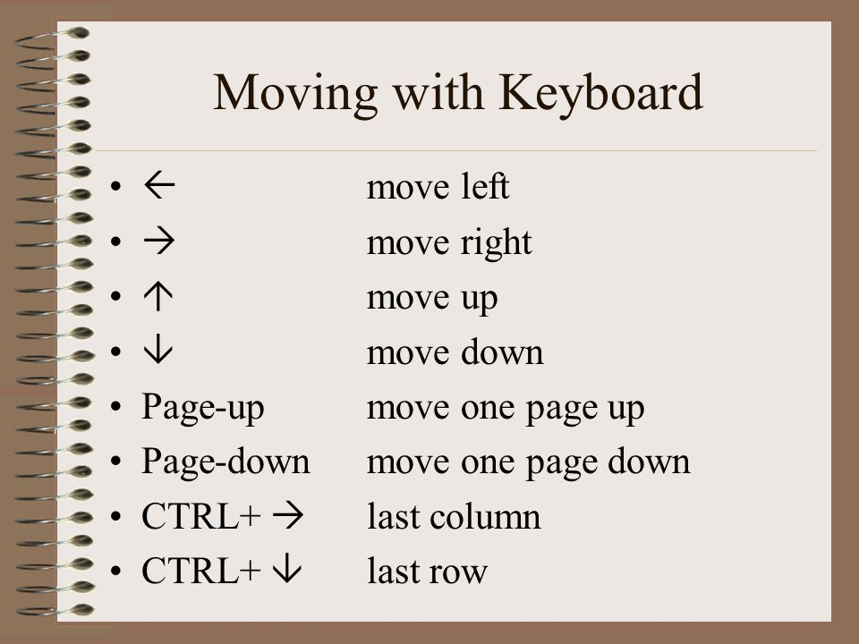  move left  move right  move up  move down Page-up move one page up Page-downmove one page down CTRL+  last column CTRL+  last row Moving with Keyboard
