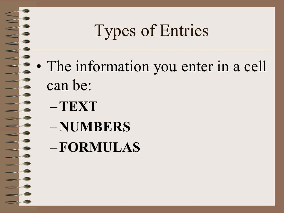 Types of Entries The information you enter in a cell can be: –TEXT –NUMBERS –FORMULAS