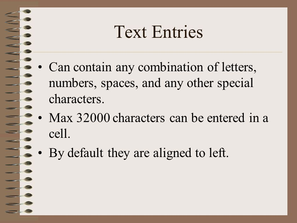 Text Entries Can contain any combination of letters, numbers, spaces, and any other special characters.