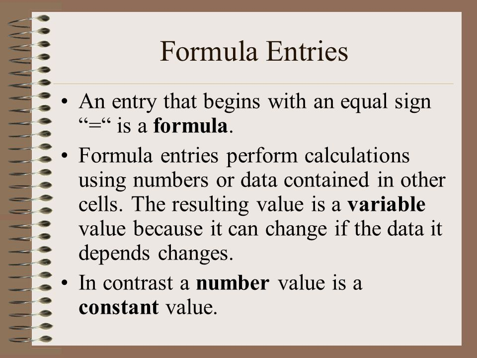 Formula Entries An entry that begins with an equal sign = is a formula.