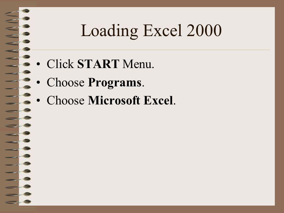 Loading Excel 2000 Click START Menu. Choose Programs. Choose Microsoft Excel.