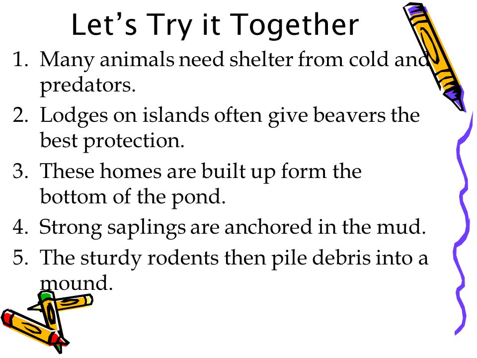Let's Try it Together 1.Many animals need shelter from cold and predators.