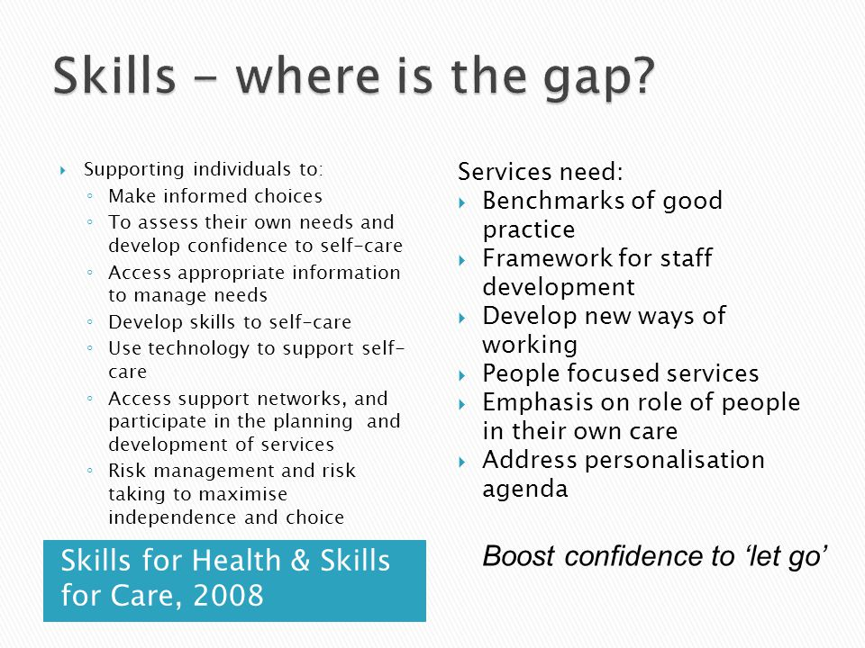 Skills for Health & Skills for Care, 2008  Supporting individuals to: ◦ Make informed choices ◦ To assess their own needs and develop confidence to self-care ◦ Access appropriate information to manage needs ◦ Develop skills to self-care ◦ Use technology to support self- care ◦ Access support networks, and participate in the planning and development of services ◦ Risk management and risk taking to maximise independence and choice Services need:  Benchmarks of good practice  Framework for staff development  Develop new ways of working  People focused services  Emphasis on role of people in their own care  Address personalisation agenda Boost confidence to 'let go'