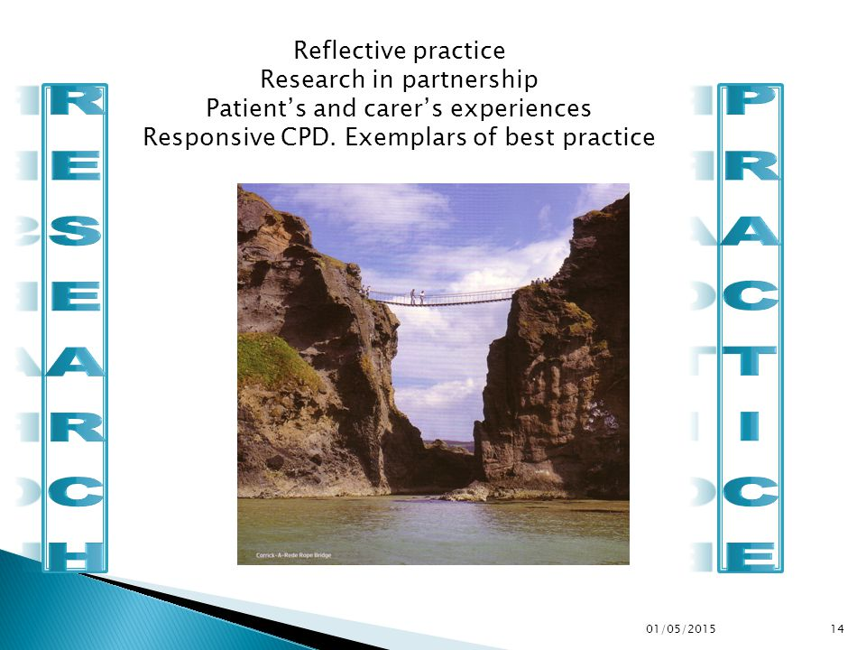 01/05/201514 Reflective practice Research in partnership Patient's and carer's experiences Responsive CPD.