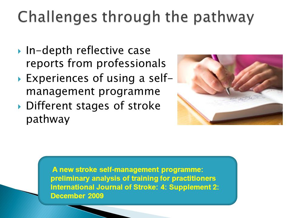  In-depth reflective case reports from professionals  Experiences of using a self- management programme  Different stages of stroke pathway A new s