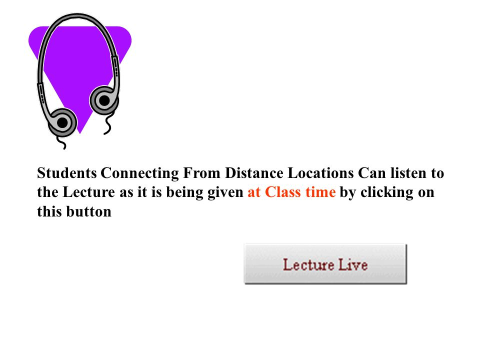 Each Lecture will be recorded and students can review the lecture at any time by clicking on this button