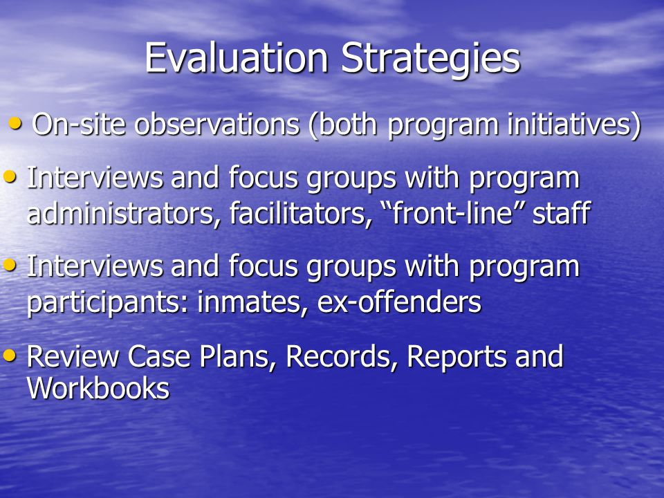 Evaluation Strategies On-site observations (both program initiatives) On-site observations (both program initiatives) Interviews and focus groups with program administrators, facilitators, front-line staff Interviews and focus groups with program administrators, facilitators, front-line staff Interviews and focus groups with program participants: inmates, ex-offenders Interviews and focus groups with program participants: inmates, ex-offenders Review Case Plans, Records, Reports and Workbooks Review Case Plans, Records, Reports and Workbooks