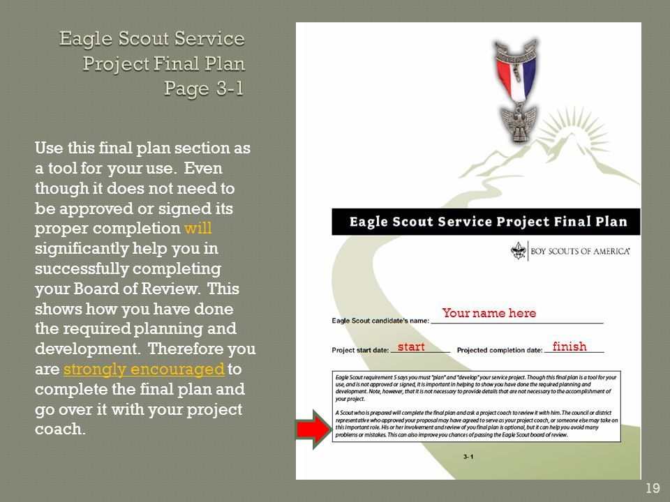 19 Use this final plan section as a tool for your use.