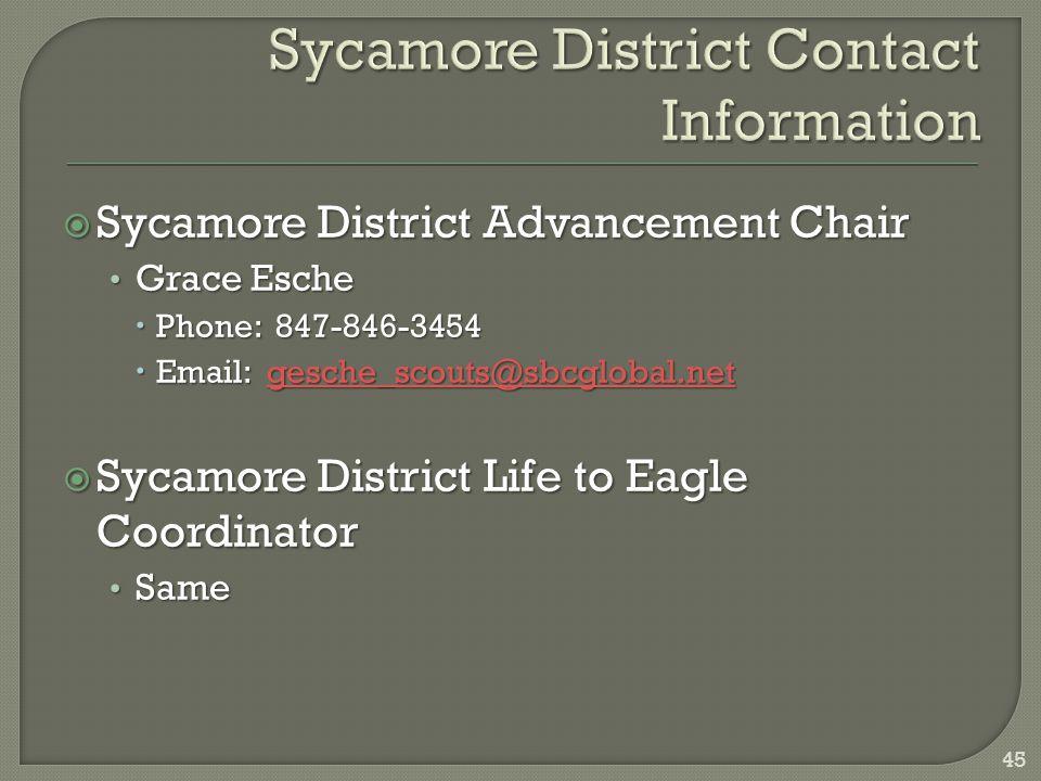  Sycamore District Advancement Chair Grace Esche Grace Esche  Phone: 847-846-3454  Email: gesche_scouts@sbcglobal.net gesche_scouts@sbcglobal.net  Sycamore District Life to Eagle Coordinator Same Same 45