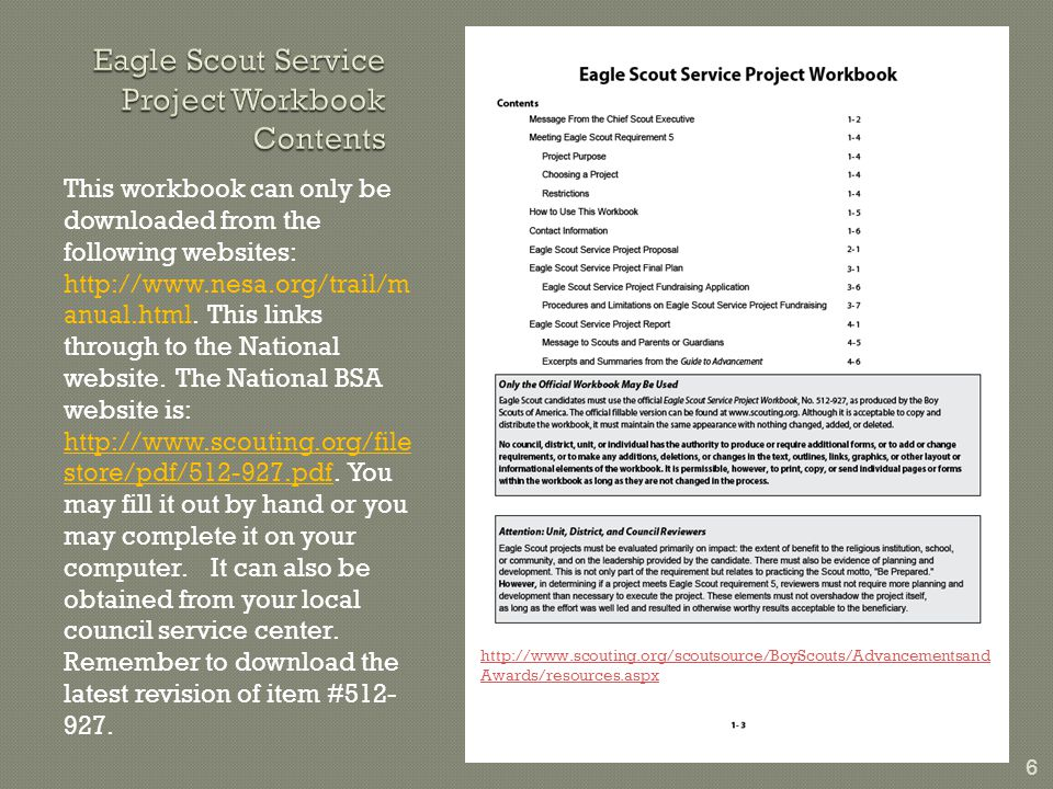 6 This workbook can only be downloaded from the following websites: http://www.nesa.org/trail/m anual.html.