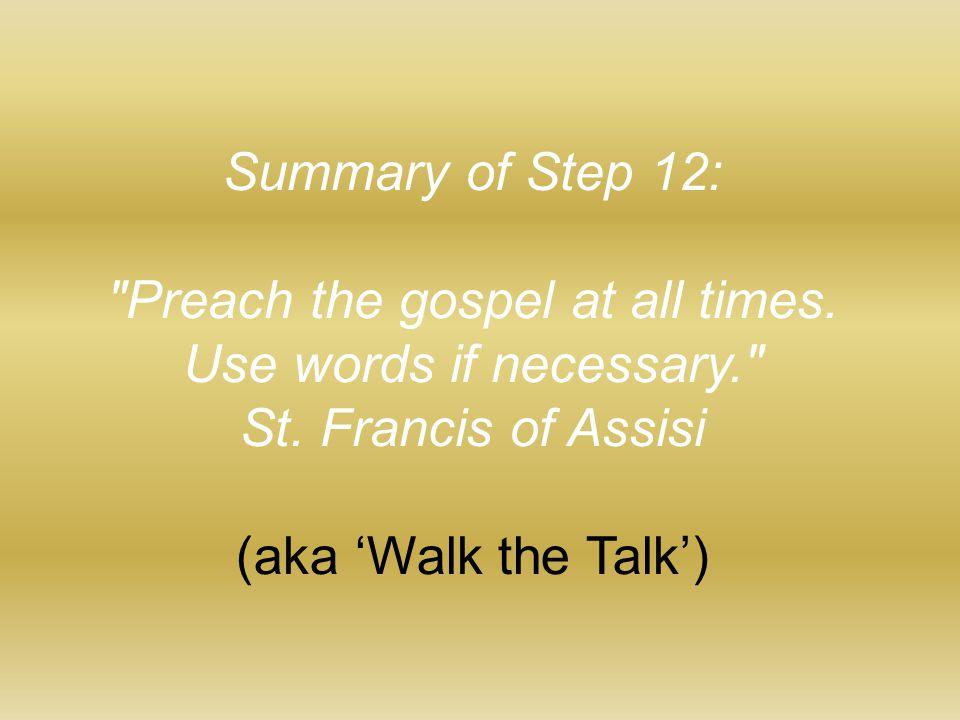 Summary of Step 12: