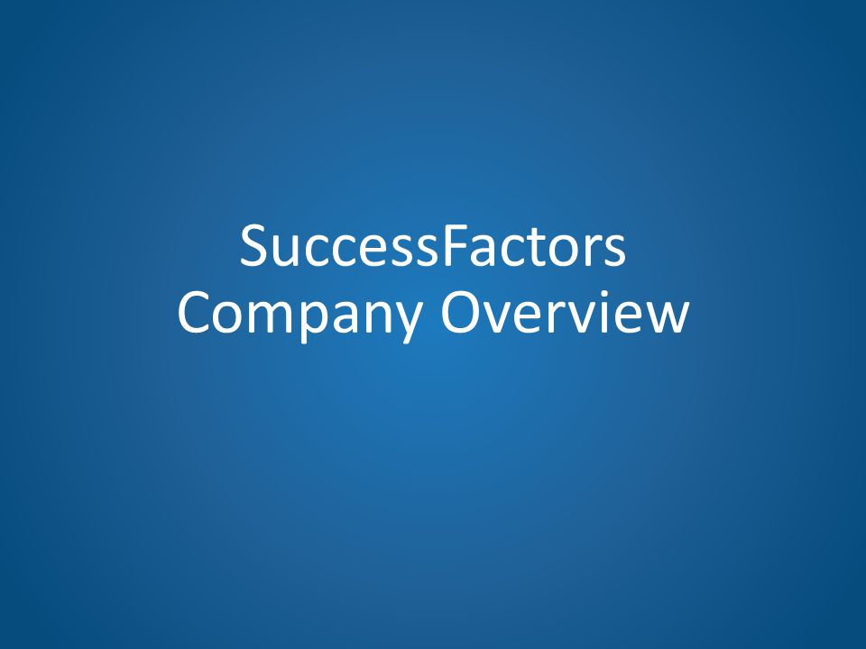 SuccessFactors Company Overview