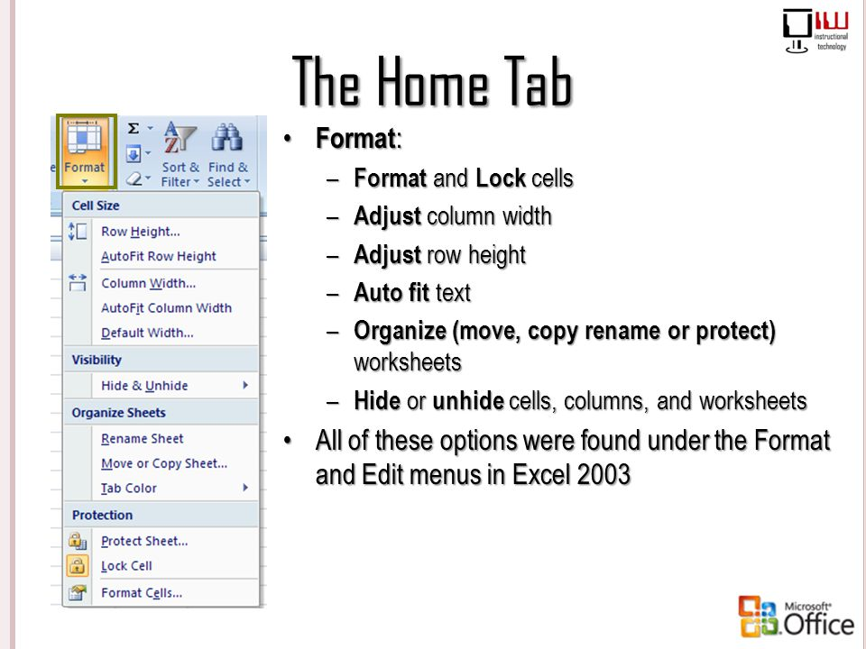 The Home Tab Format: – Format and Lock cells – Adjust column width – Adjust row height – Auto fit text – Organize (move, copy rename or protect) works