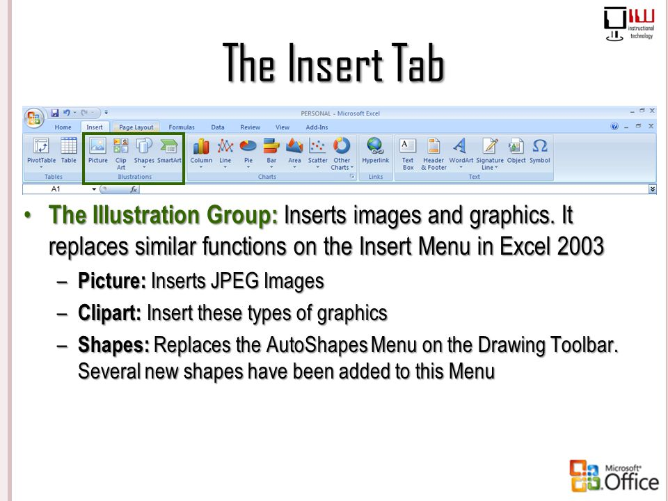The Insert Tab The Illustration Group: Inserts images and graphics. It replaces similar functions on the Insert Menu in Excel 2003 – Picture: Inserts