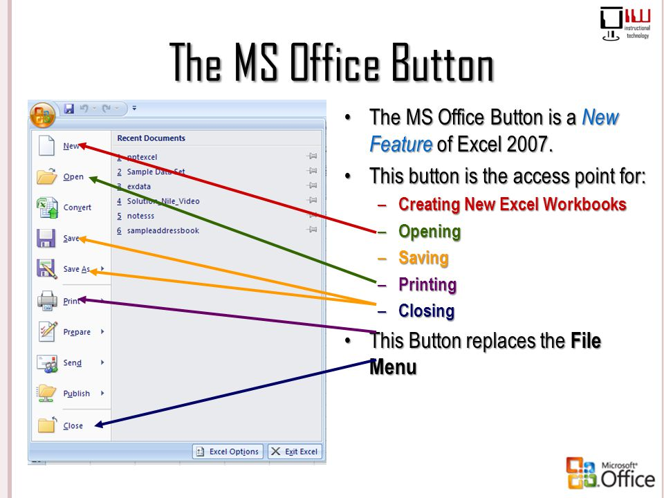 The MS Office Button The MS Office Button is a New Feature of Excel 2007. This button is the access point for: – Creating New Excel Workbooks – Openin