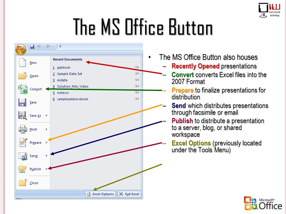 The MS Office Button The MS Office Button also houses – Recently Opened presentations – Convert converts Excel files into the 2007 Format – Prepare to