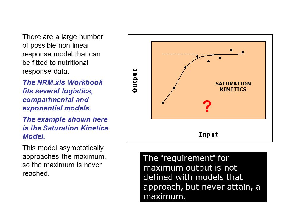 There are a large number of possible non-linear response model that can be fitted to nutritional response data.