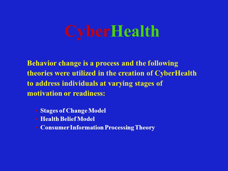 CyberHealth Behavior change is a process and the following theories were utilized in the creation of CyberHealth to address individuals at varying stages of motivation or readiness: Stages of Change Model Health Belief Model Consumer Information Processing Theory