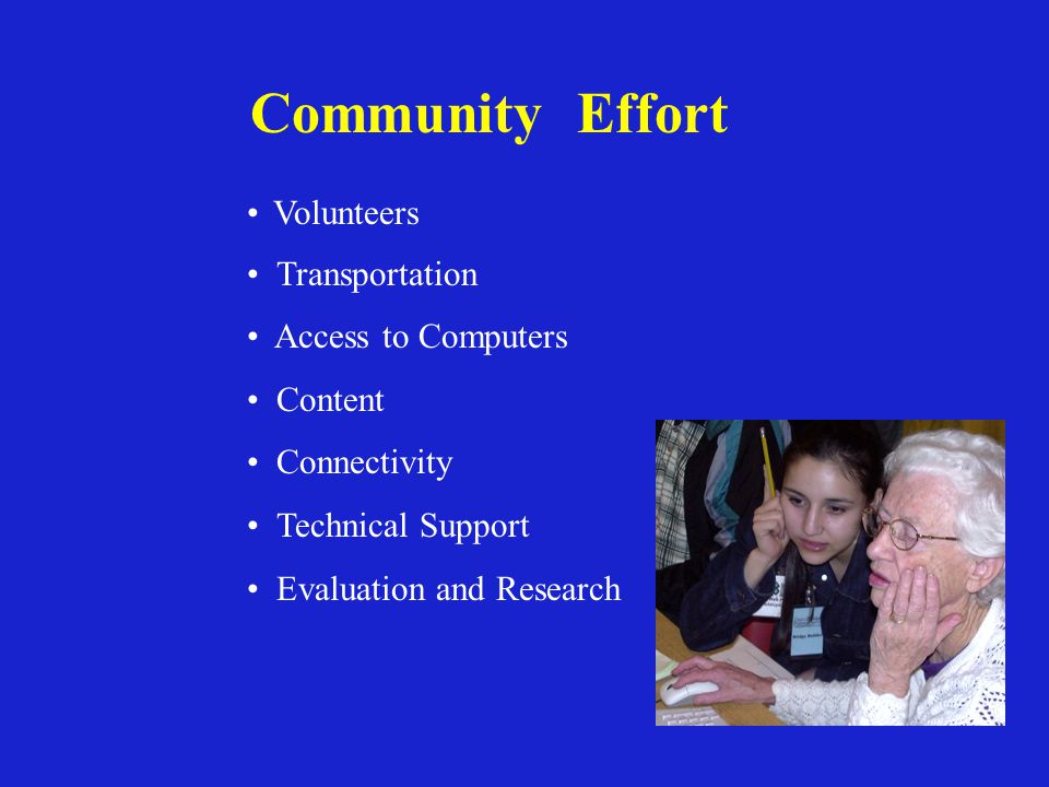 Community Effort Volunteers Transportation Access to Computers Content Connectivity Technical Support Evaluation and Research