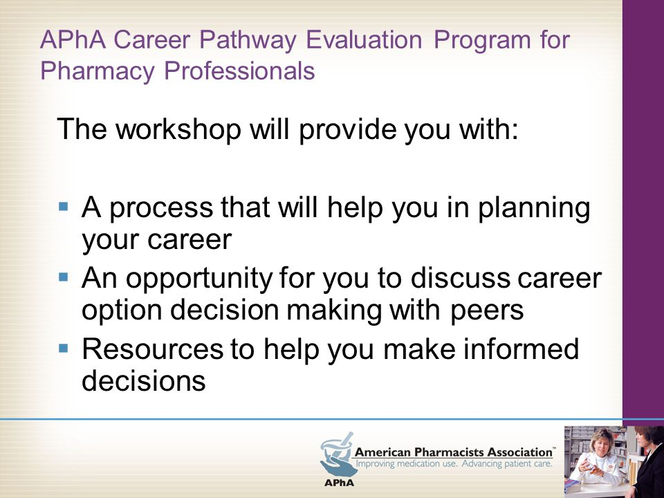 P rogram Contents (available at www.pharmacist.com under Careers)www.pharmacist.com  Briefing Document (pre-seminar materials)  Workshop Workbook  Career Specialty Profiles (online only)  Online Assessment Tool  Career Resources  Follow-Up Materials/Exercises