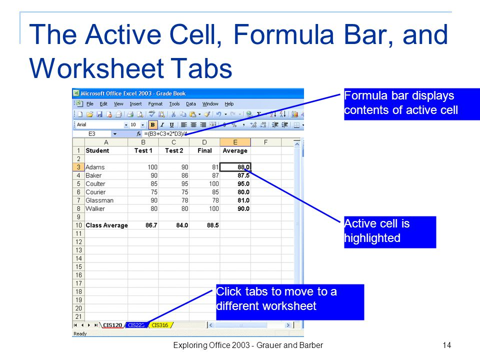 Exploring Office 2003 - Grauer and Barber 14 The Active Cell, Formula Bar, and Worksheet Tabs Click tabs to move to a different worksheet Active cell is highlighted Formula bar displays contents of active cell