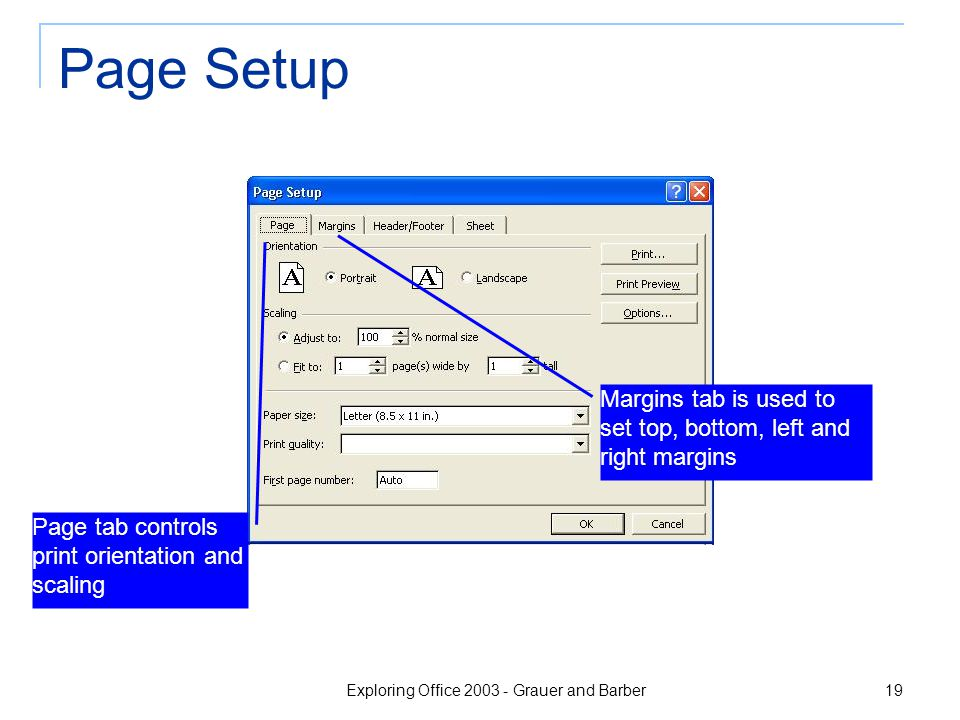 Exploring Office 2003 - Grauer and Barber 19 Page Setup Page tab controls print orientation and scaling Margins tab is used to set top, bottom, left and right margins