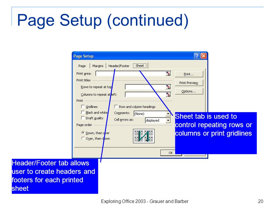 Exploring Office 2003 - Grauer and Barber 20 Page Setup (continued) Header/Footer tab allows user to create headers and footers for each printed sheet