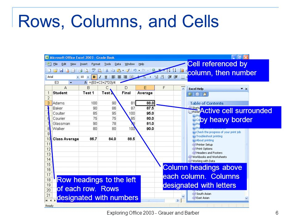 Exploring Office 2003 - Grauer and Barber 6 Rows, Columns, and Cells Cell referenced by column, then number Active cell surrounded by heavy border Col