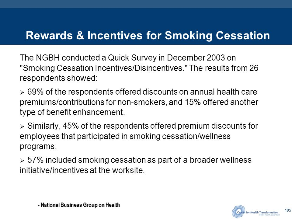 105 Rewards & Incentives for Smoking Cessation The NGBH conducted a Quick Survey in December 2003 on