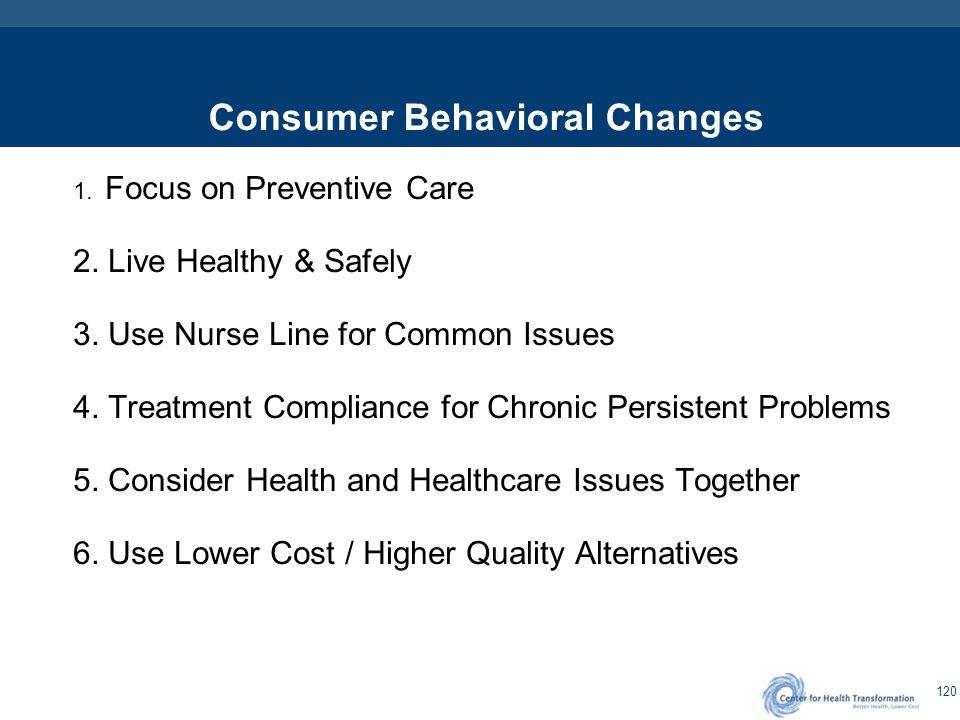 120 Consumer Behavioral Changes 1. Focus on Preventive Care 2. Live Healthy & Safely 3. Use Nurse Line for Common Issues 4. Treatment Compliance for C