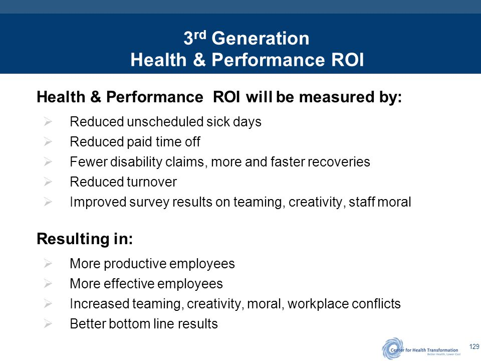 129 3 rd Generation Health & Performance ROI Health & Performance ROI will be measured by:  Reduced unscheduled sick days  Reduced paid time off  F