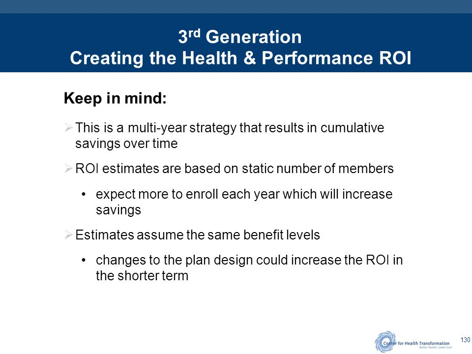 130 3 rd Generation Creating the Health & Performance ROI Keep in mind:  This is a multi-year strategy that results in cumulative savings over time 