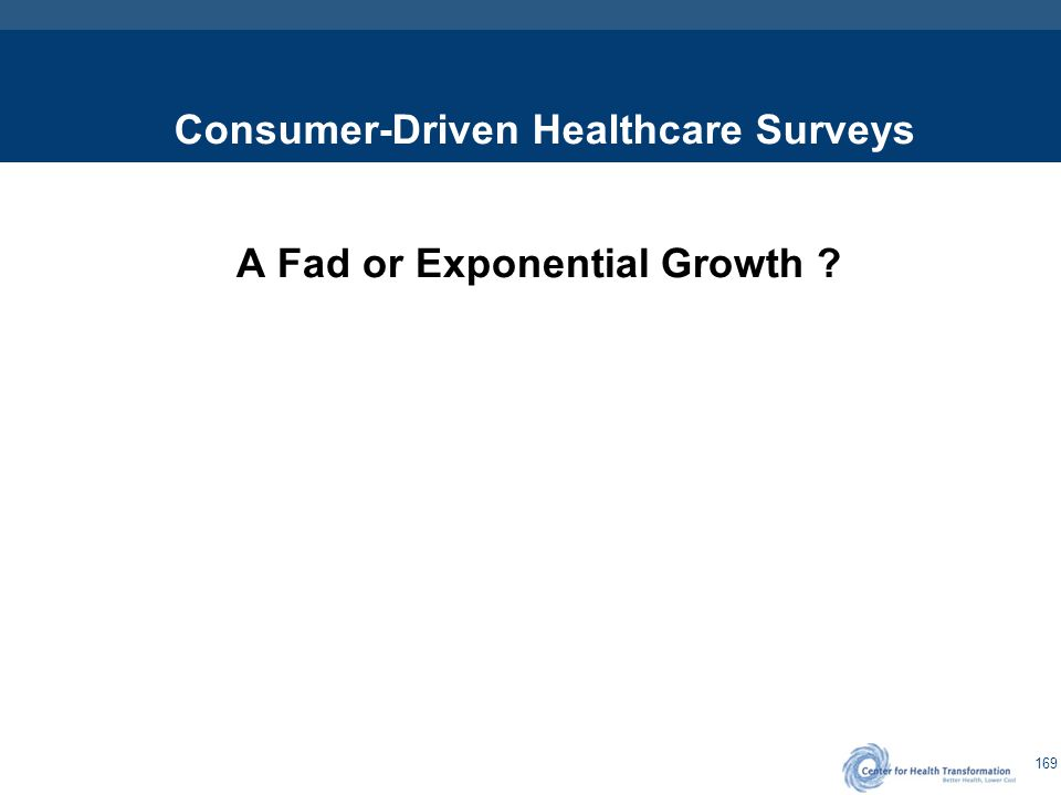 169 Consumer-Driven Healthcare Surveys A Fad or Exponential Growth ?