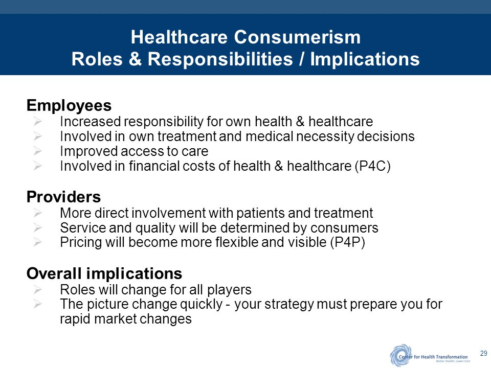 29 Healthcare Consumerism Roles & Responsibilities / Implications Employees  Increased responsibility for own health & healthcare  Involved in own t