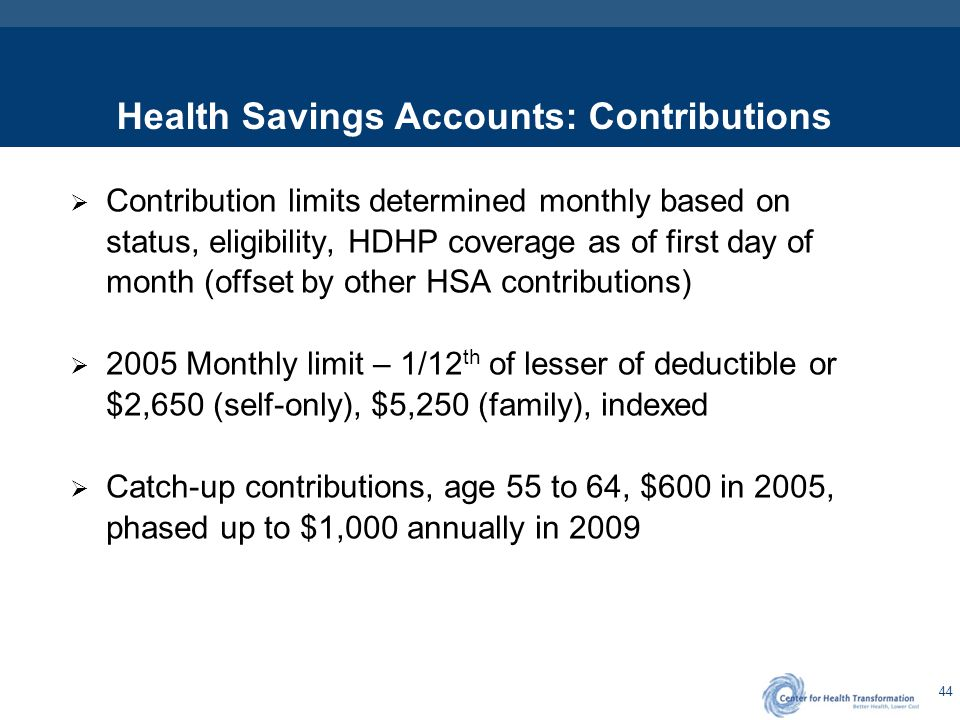44 Health Savings Accounts: Contributions  Contribution limits determined monthly based on status, eligibility, HDHP coverage as of first day of mont
