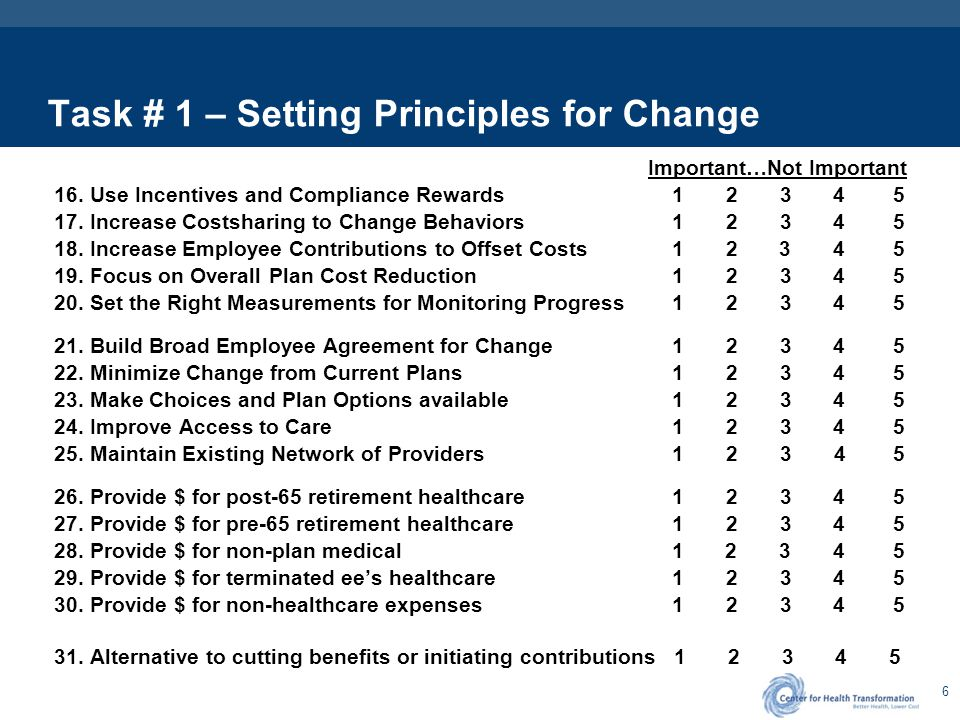 6 Task # 1 – Setting Principles for Change Important…Not Important 16. Use Incentives and Compliance Rewards 1 2 3 4 5 17. Increase Costsharing to Cha