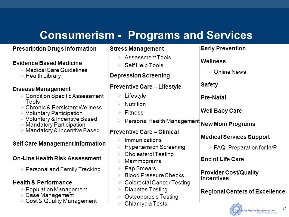 71 Consumerism - Programs and Services Prescription Drugs Information Evidence Based Medicine  Medical Care Guidelines  Health Library Disease Manag